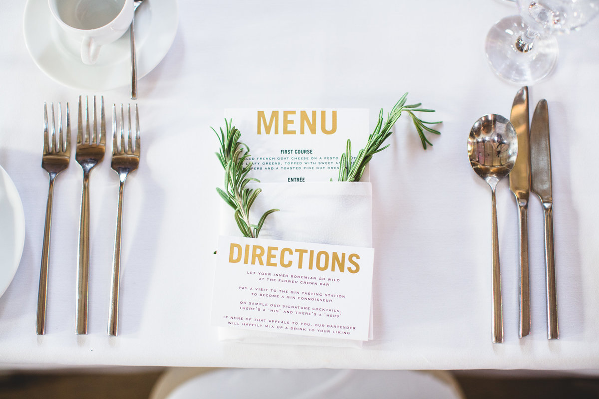 menu and rosemary place setting