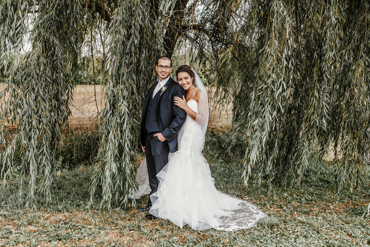Bride and Groom embracing in front of willow tree in Buffalo, New York