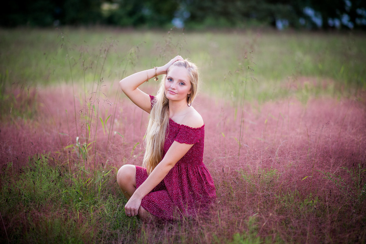 Senior Session Girl in Red Flower Field