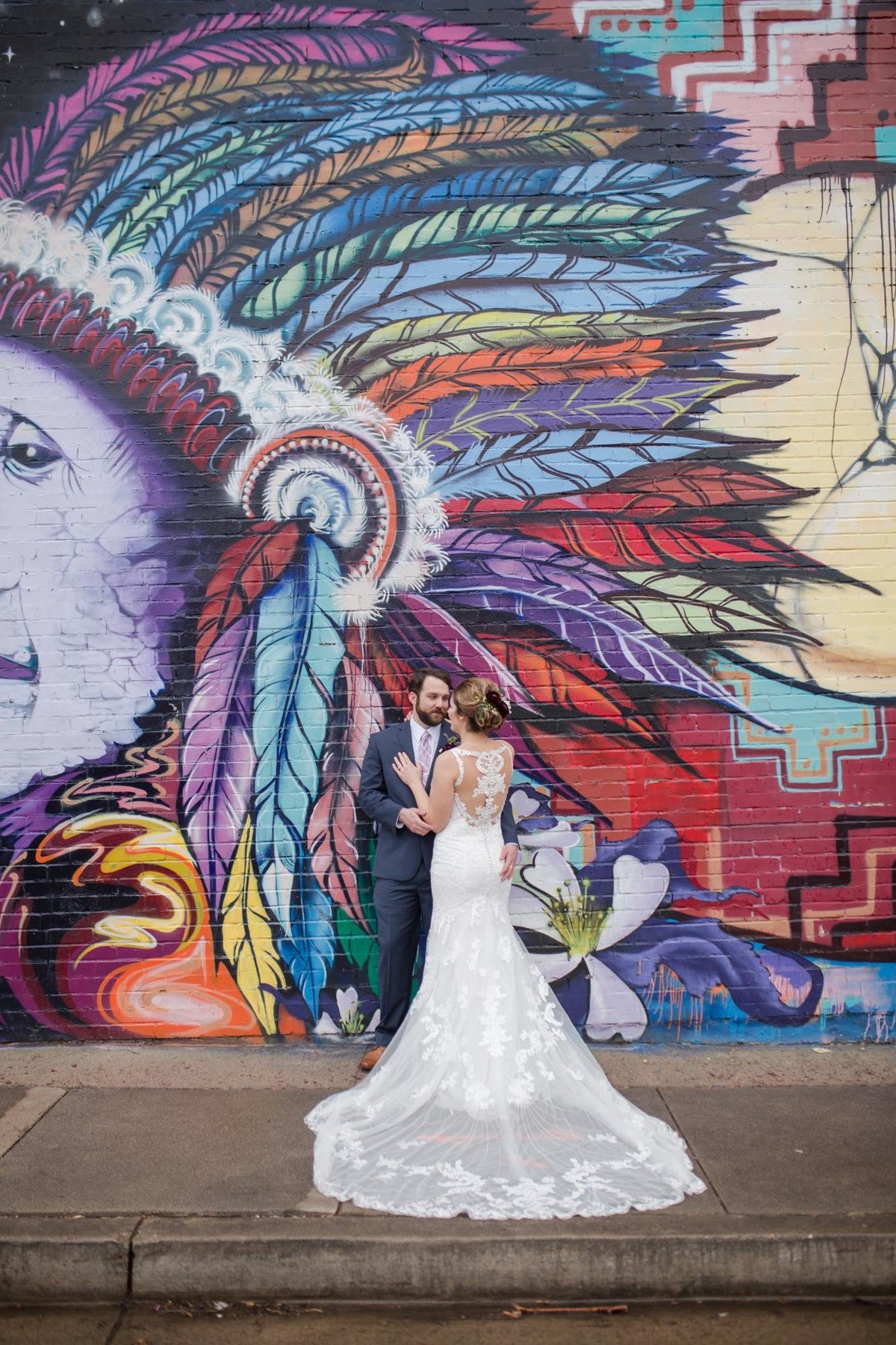 Wedding day with art mural