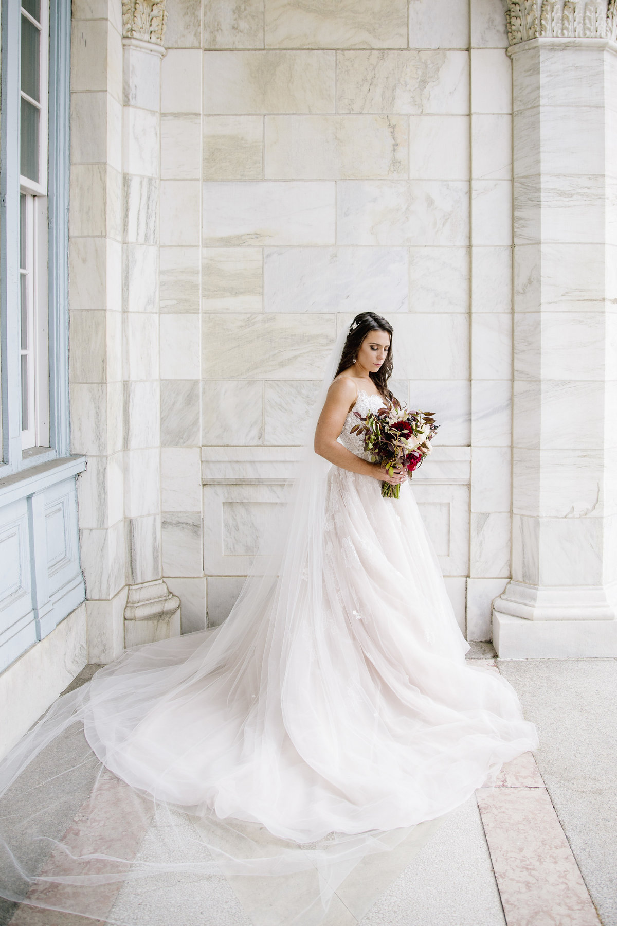 bride with large gown at asbury park wedding