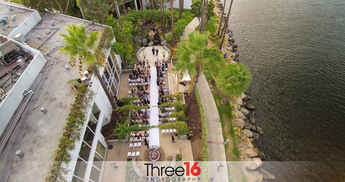 Aerial view of a Hotel Maya Wedding Ceremony in action