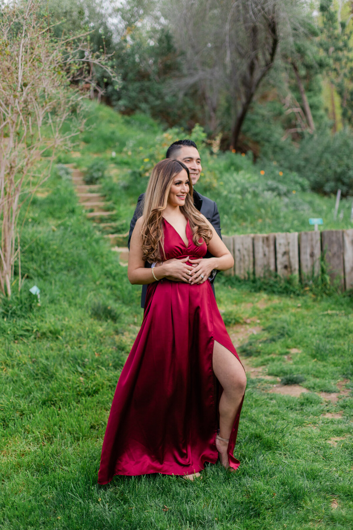UC Riverside Botanical Gardens, Engagement Photography, Riverside Phototgrapher, Garden Engagement, Couple Photography, Red Dress-6