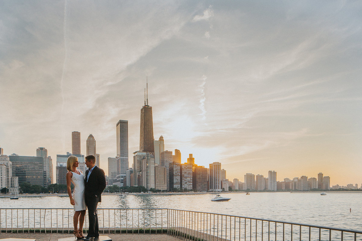 an elegant couple photographed along the downtown chicago skyline in olive park during their engagement session