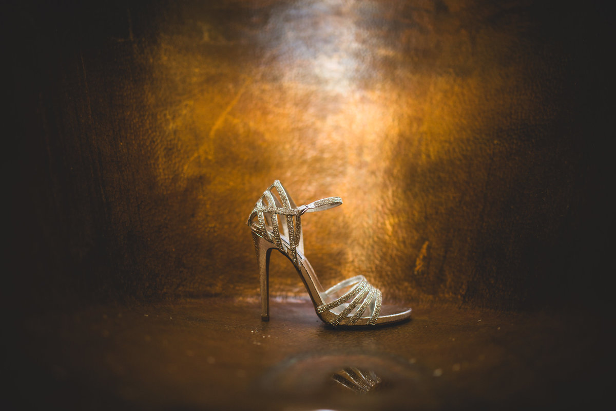 a wedding shoe in a copper bath detail photo