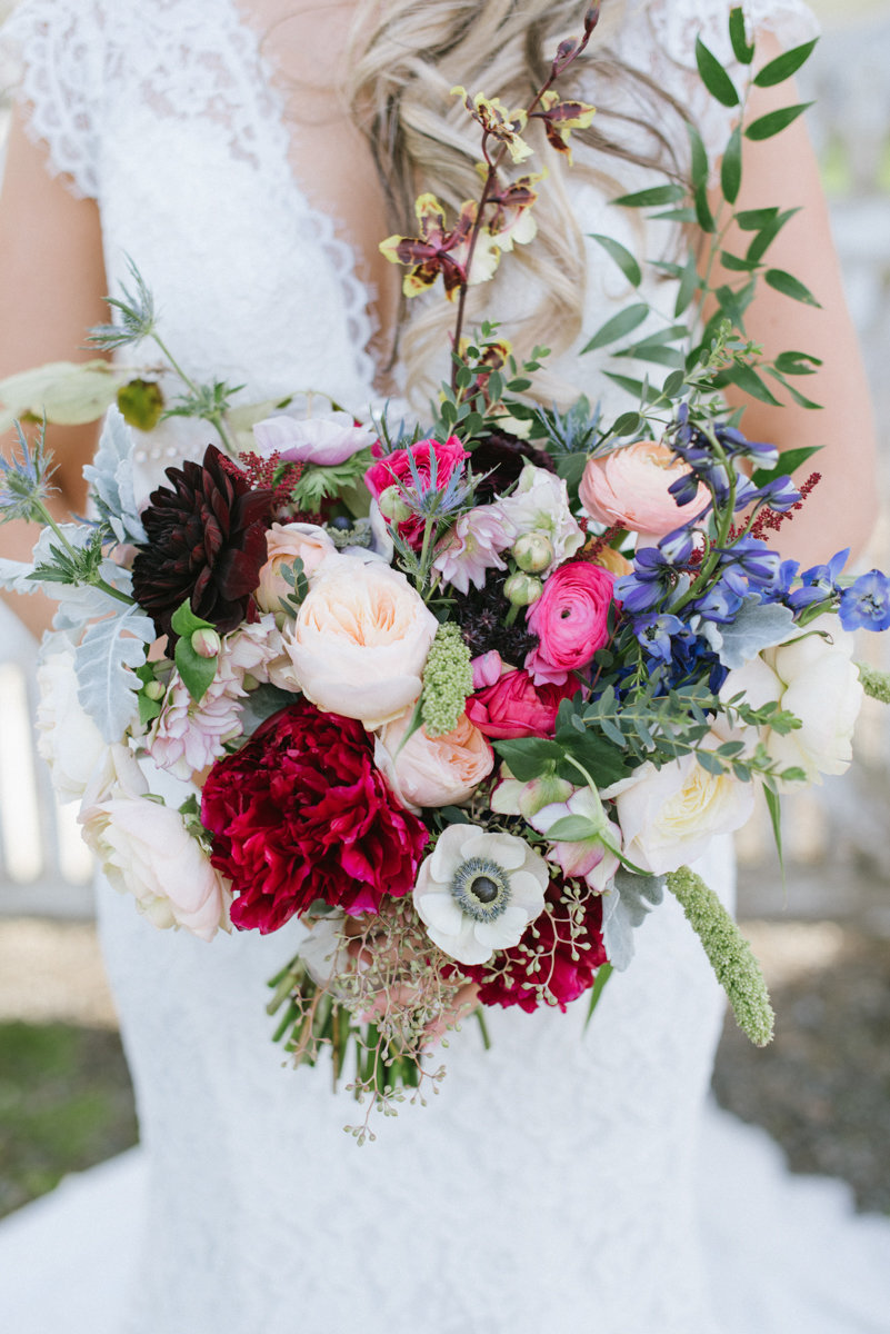 Colorful pink and whimsical bridal  bouquet