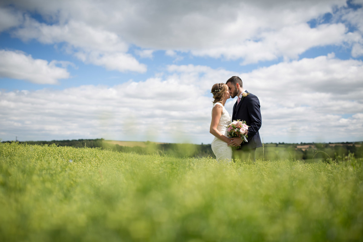 bride and groom at the oak barn devon wedding