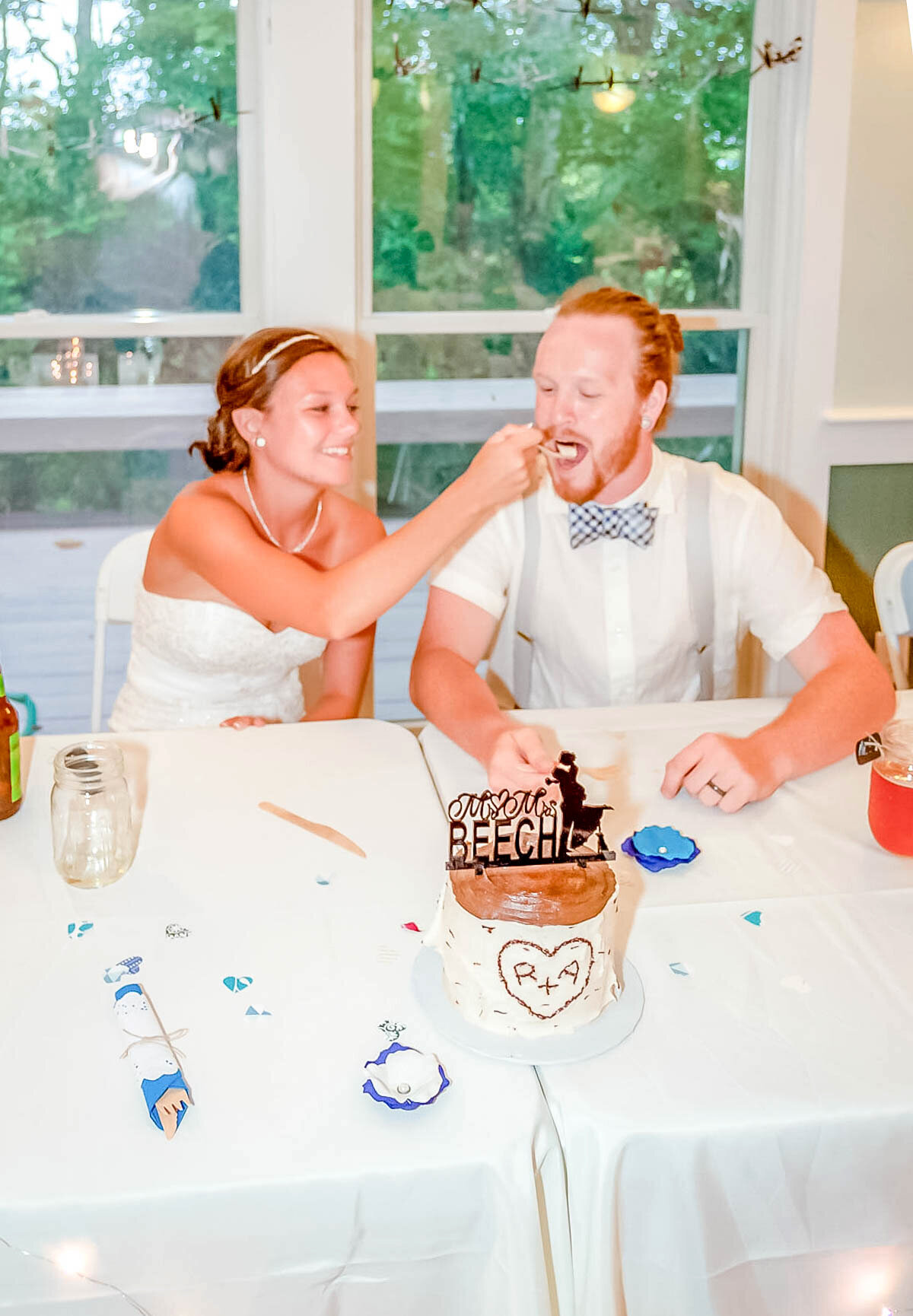 Bald Head Island Wedding Photography - Anna and Ray - Reception Cake Share - Wilmington NC Photographer Team