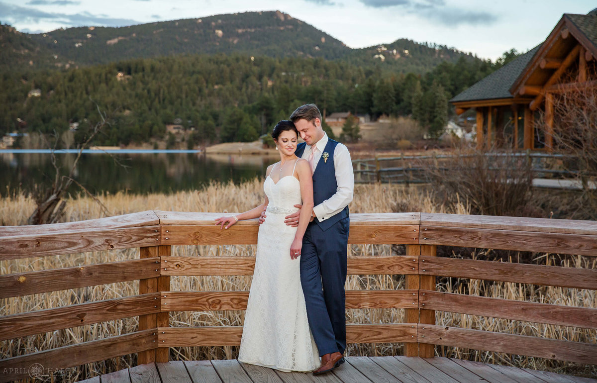 Evergreen-Lake-House-Wedding-Portrait-on-the-Wooden-Boardwalk