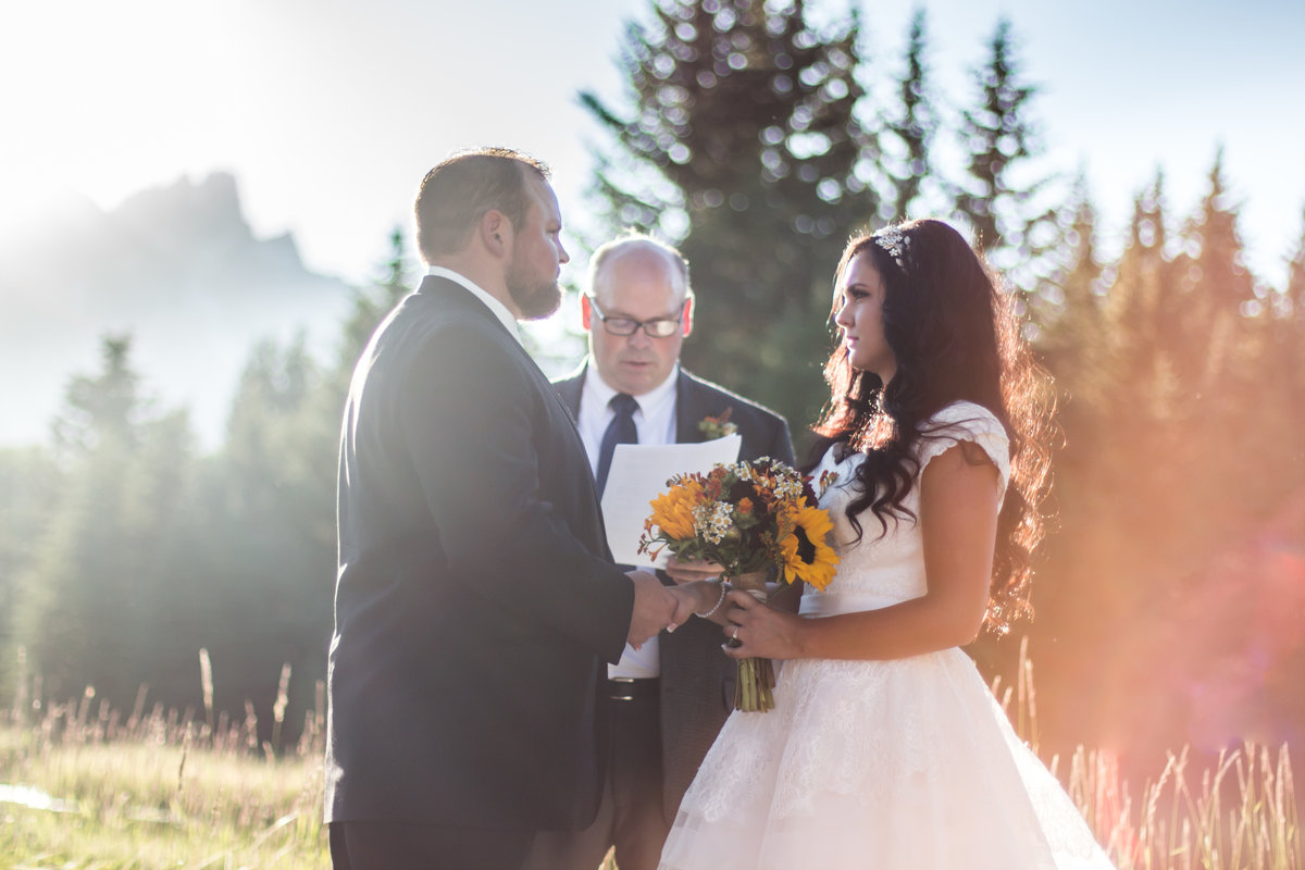 Jackson Hole, Wyoming, Teton Valley, Driggs, Idaho, wedding photographer,, ceremony, outdoors, sunny wedding session, sunflower bouquet,