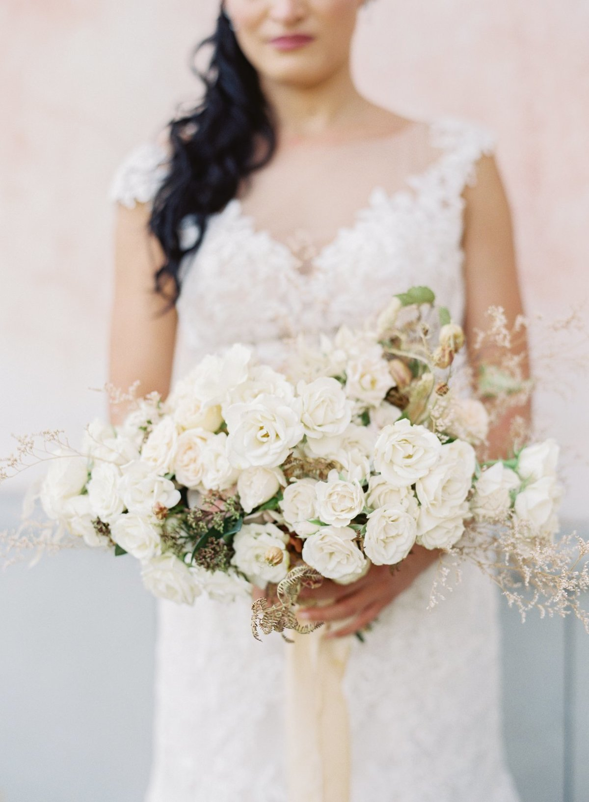 Morilee Bridal Gown and Soft White Bridal Bouquet in Tuscany