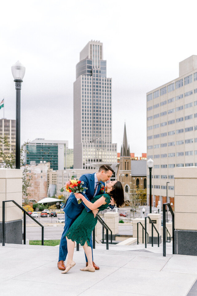 couple elopes in downtown omaha