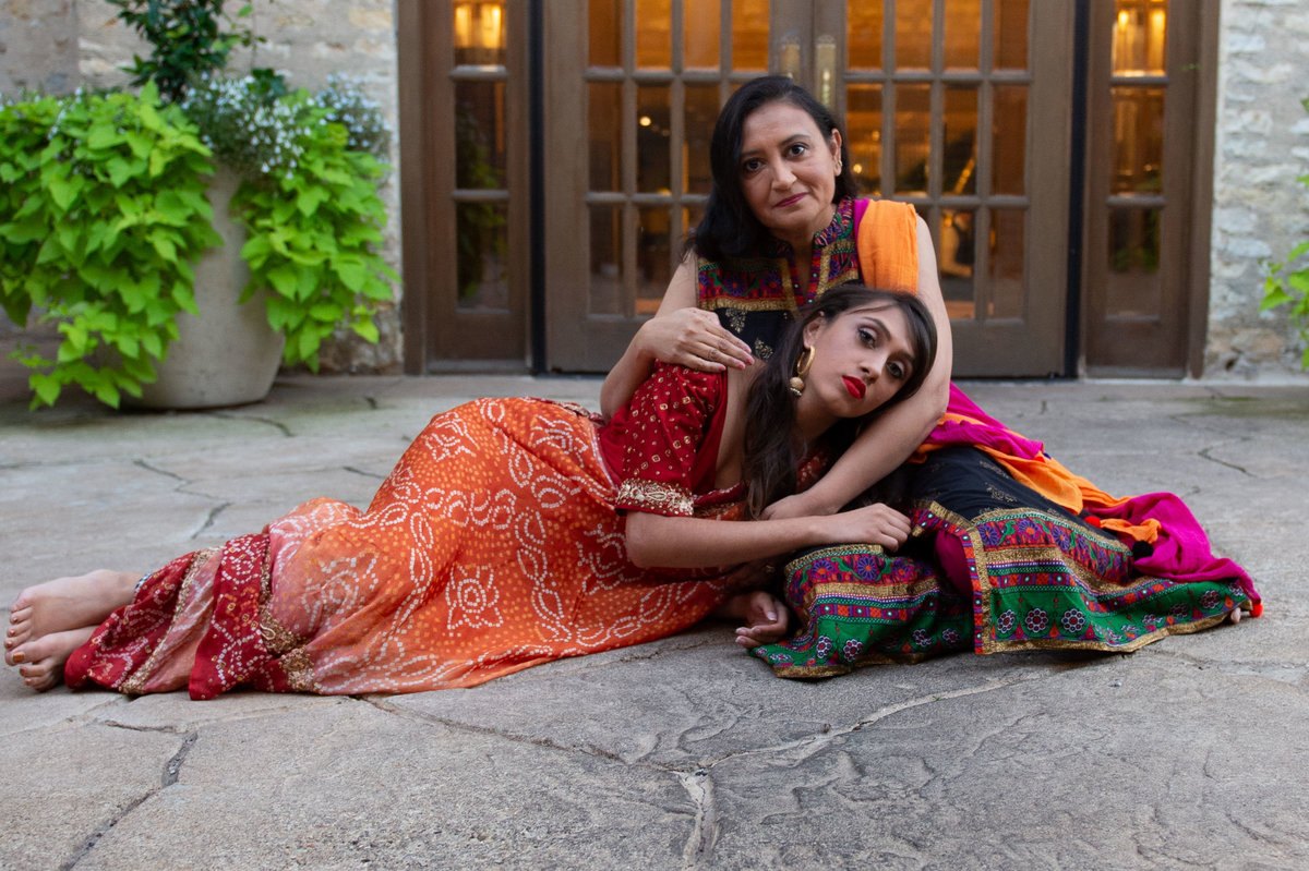 mother and daughter in traditional sari