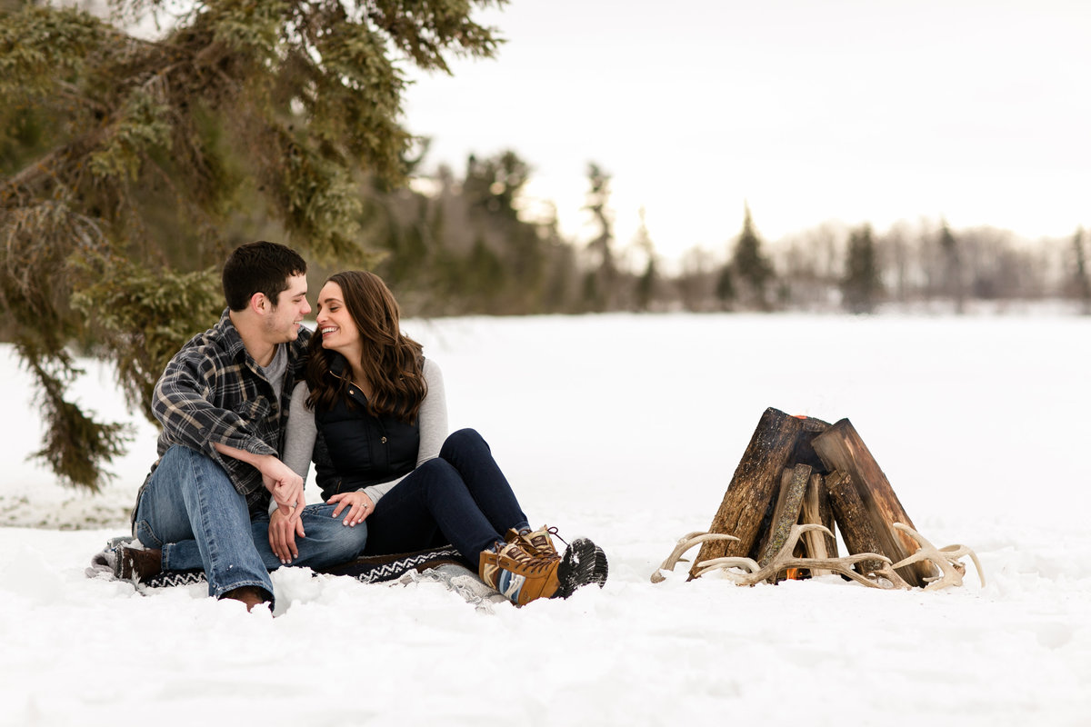 Detroit Lakes winter engagement photos