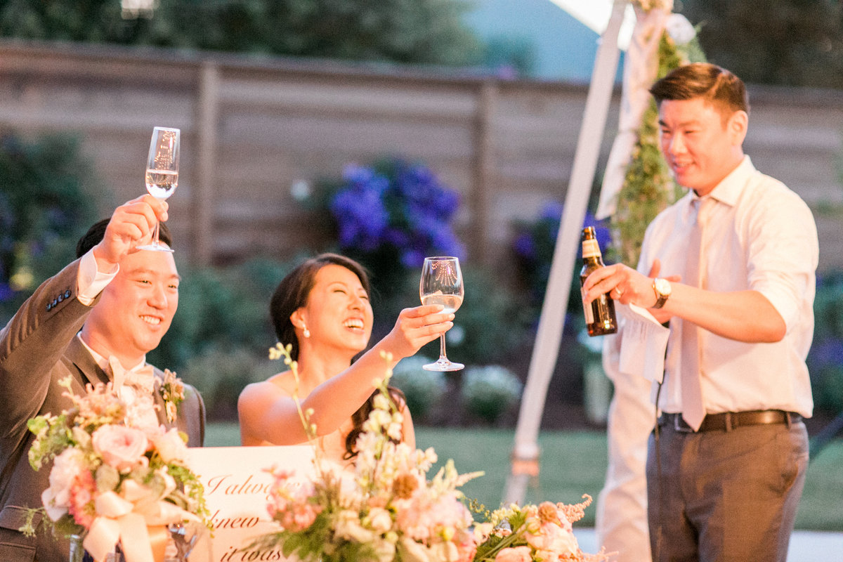 Outdoor Wedding Reception Toast