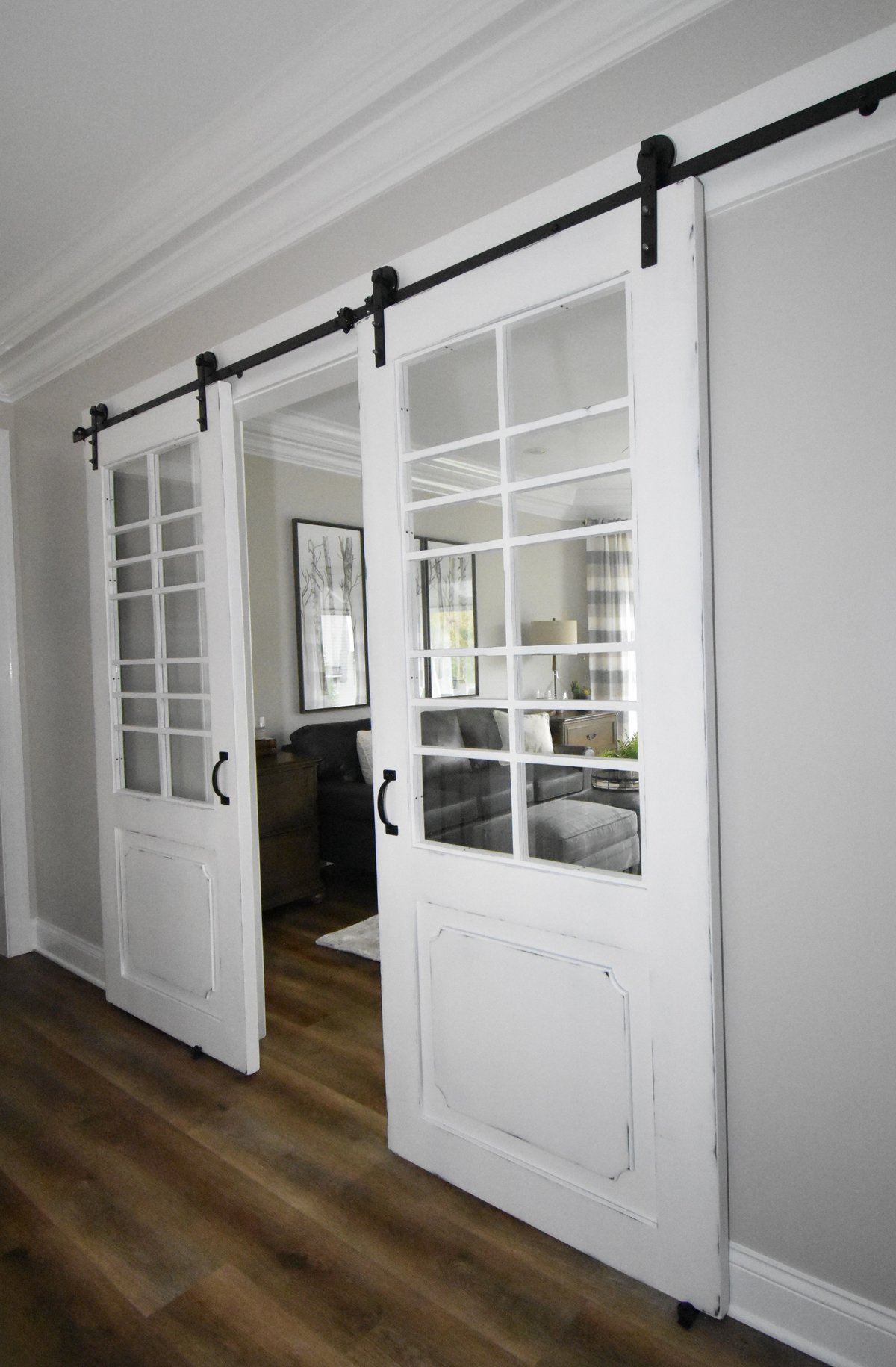 Home Office Entry with Barn Doors