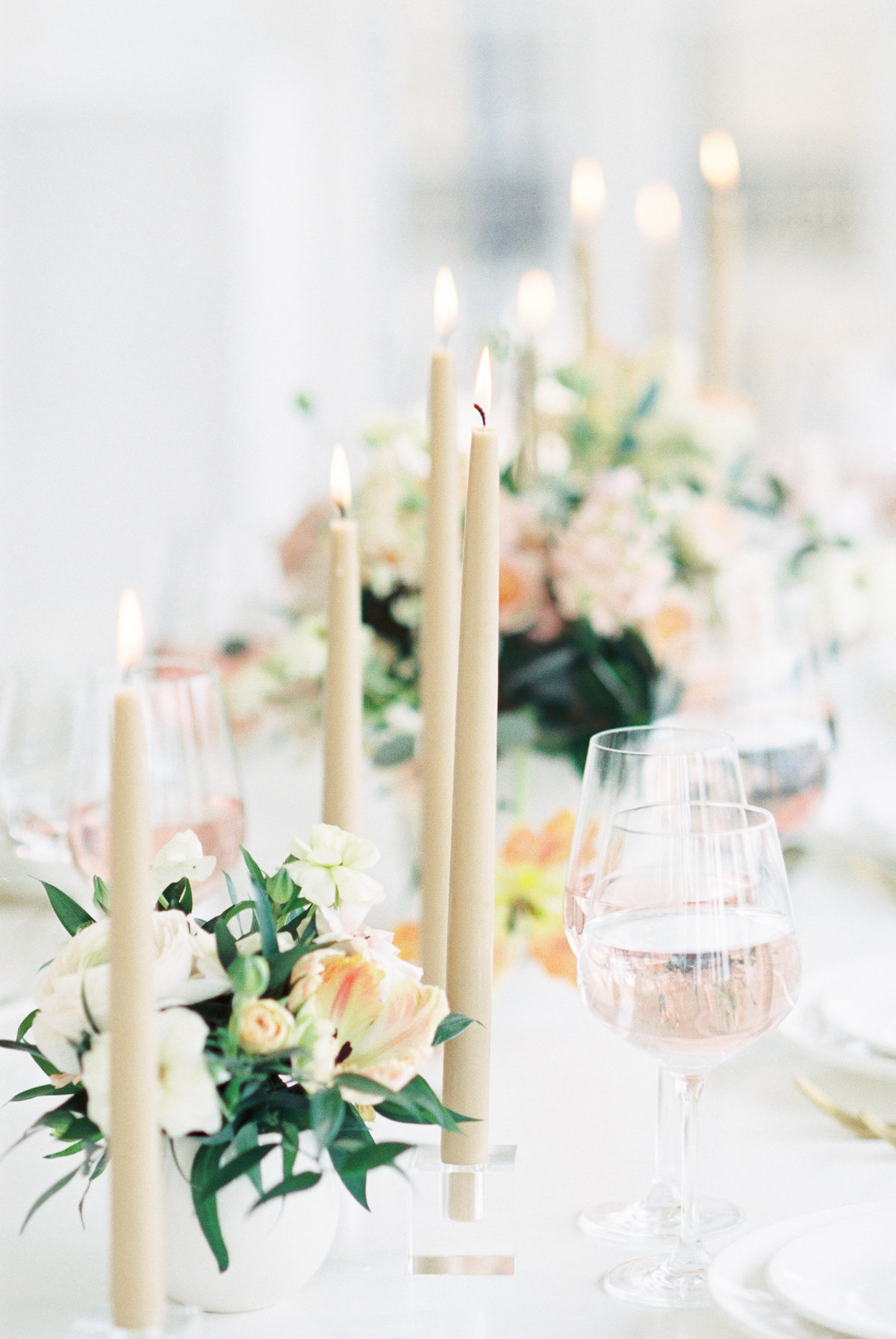Tablescape of a wedding reception table