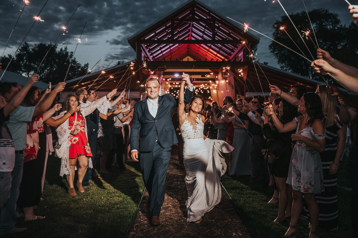 Harpor's Vineyard Wedding Photographer Sparkler Exit in Iowa