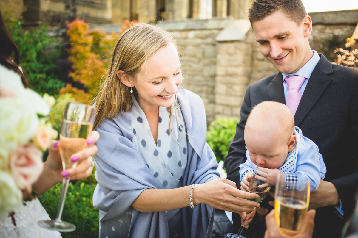 baby drinking champagne at allerton castle