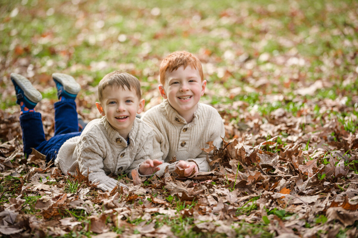 Great Brook Farm family session in the fall leaves