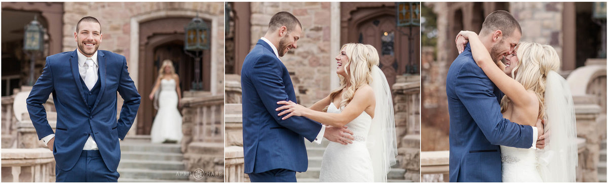 Groom in a blue suit sees bride for the first time during their first look at Highlands Ranch Mansion