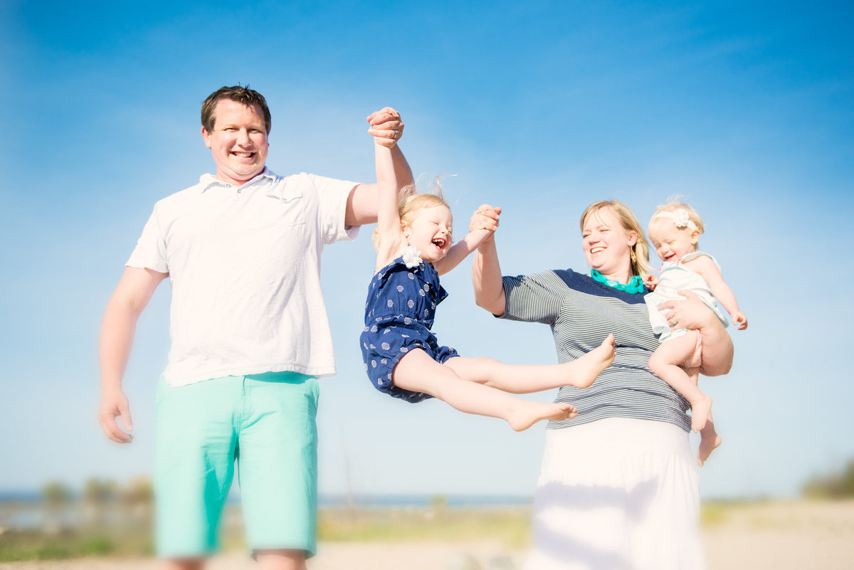 beach family portrait photographer in traverse city michigan