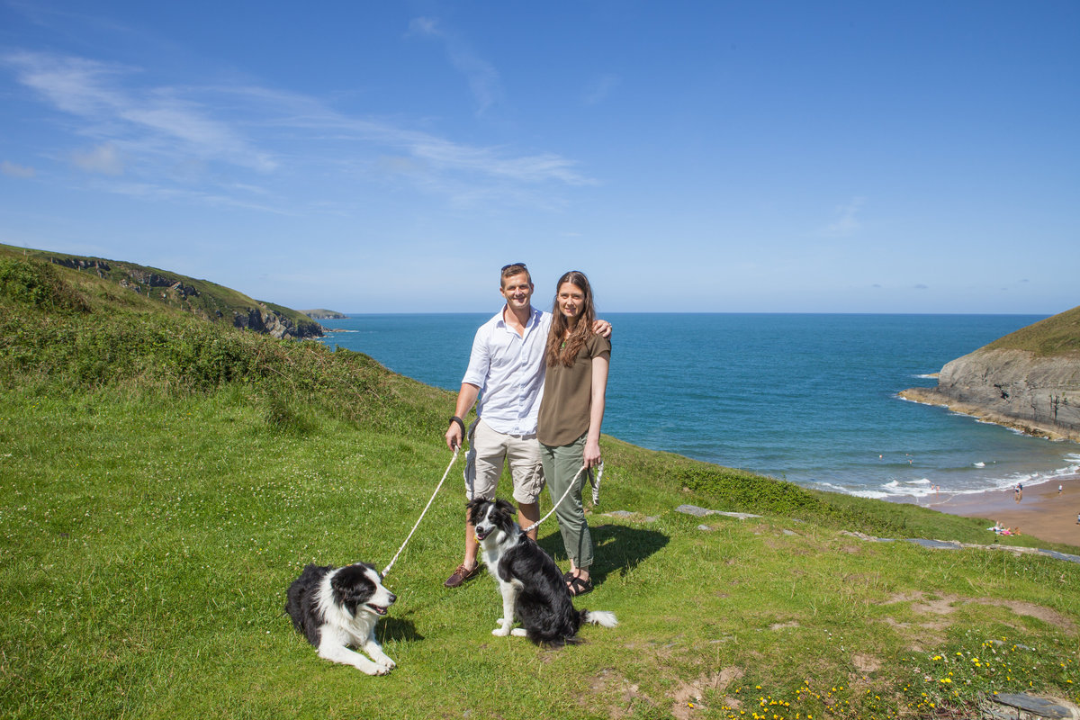 dogs in engagement photos at mwnt beach, beach photos engagement