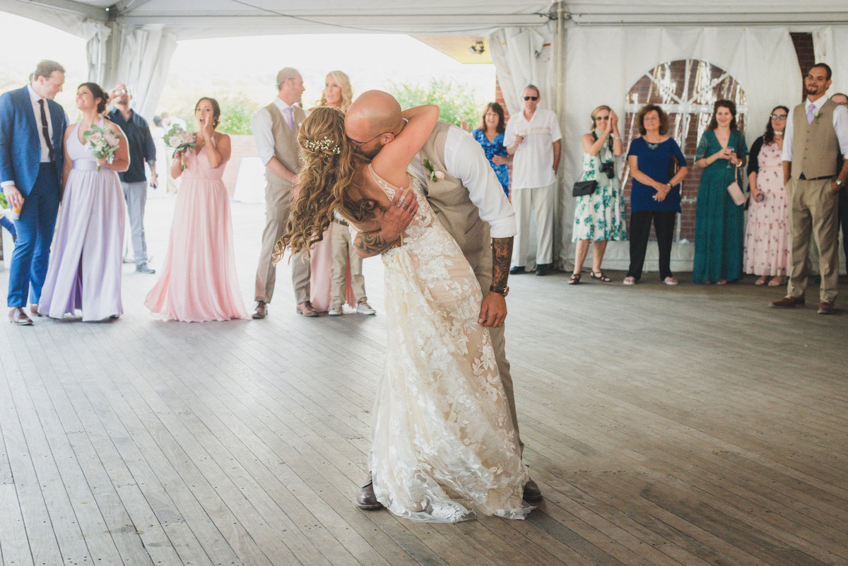 photo of bride and groom during first dance from wedding reception at Pavilion at Sunken Meadow