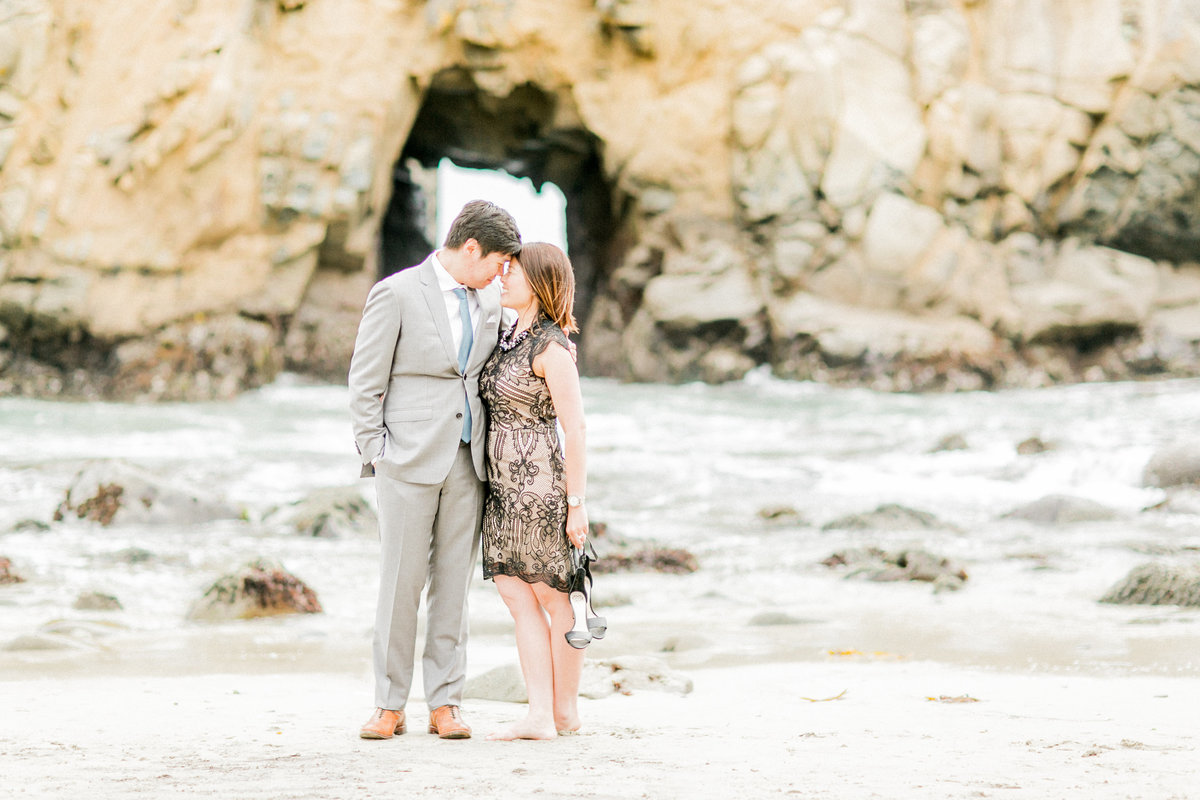Pfieffer Beach Rock Formation Engagement Photo