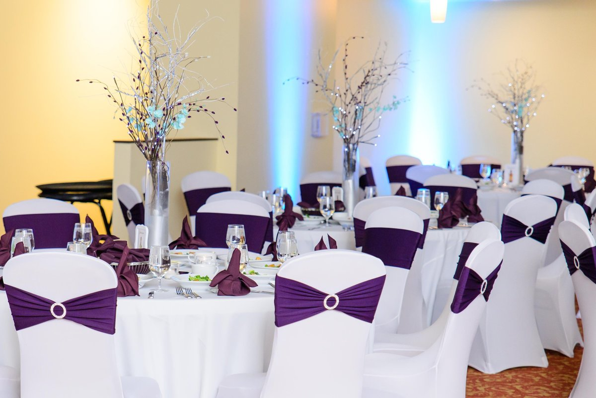 Blue and Purple wedding reception decor with uplighting and off camera flash