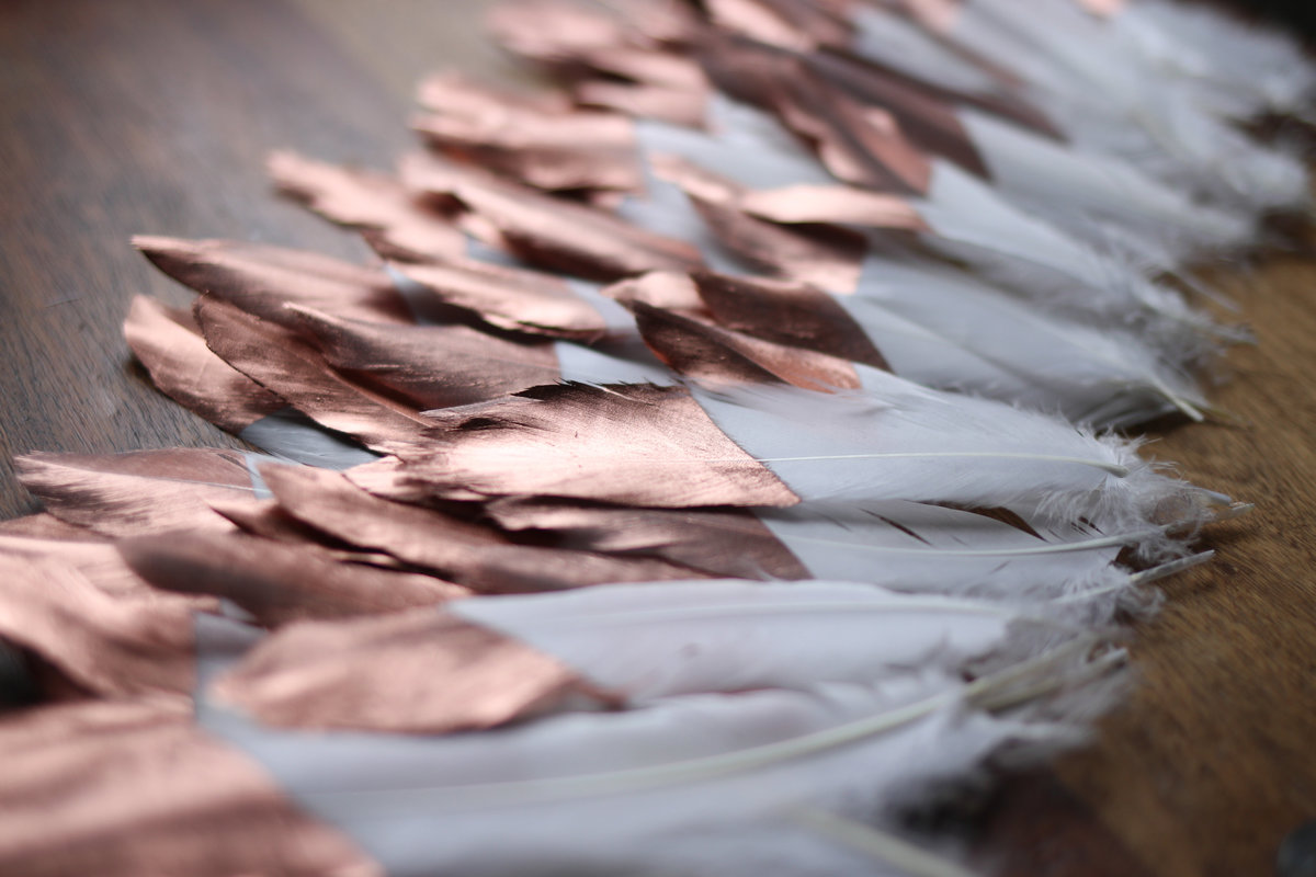 Rose Gold Copper Feather