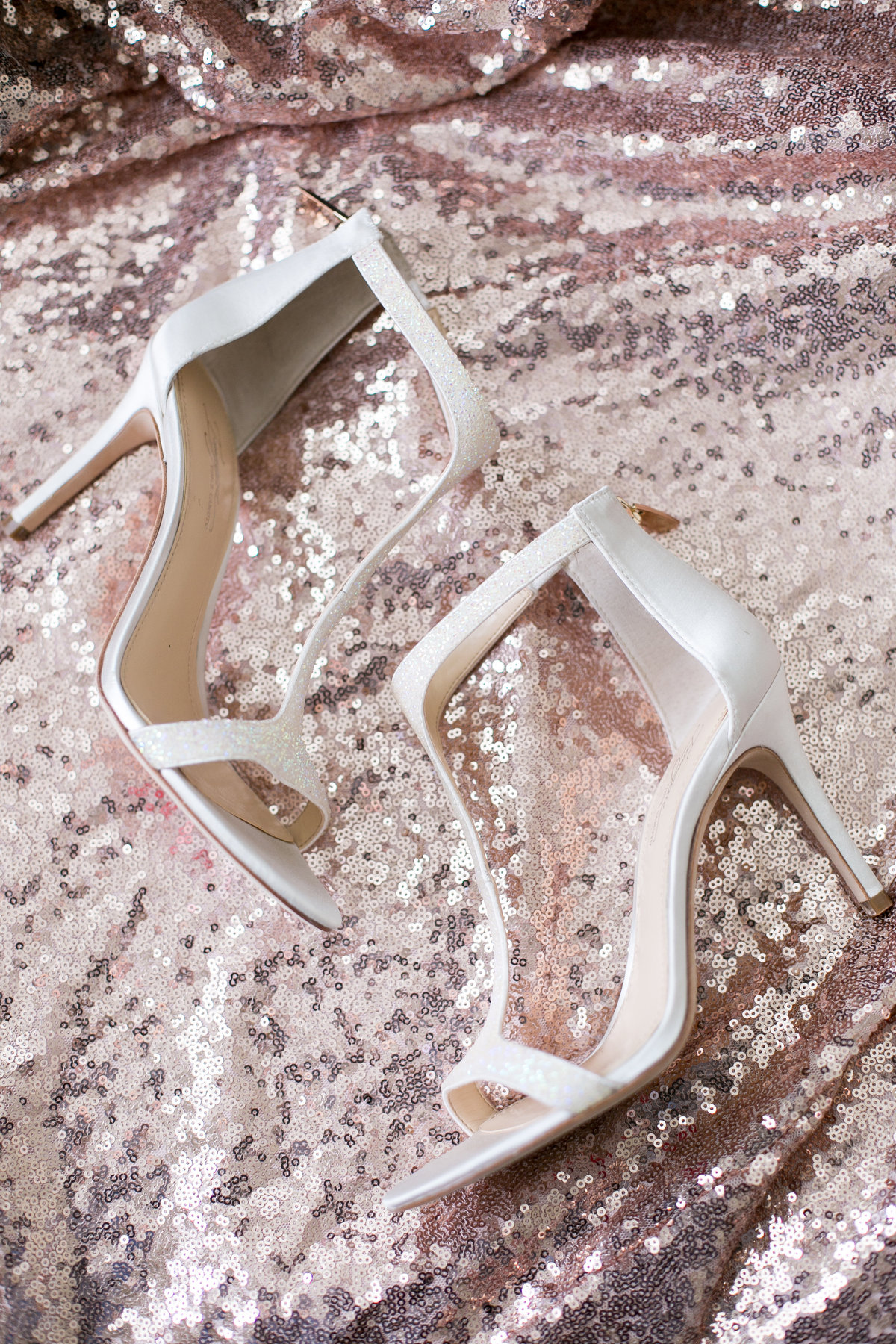 sequined t-strap wedding day shoes