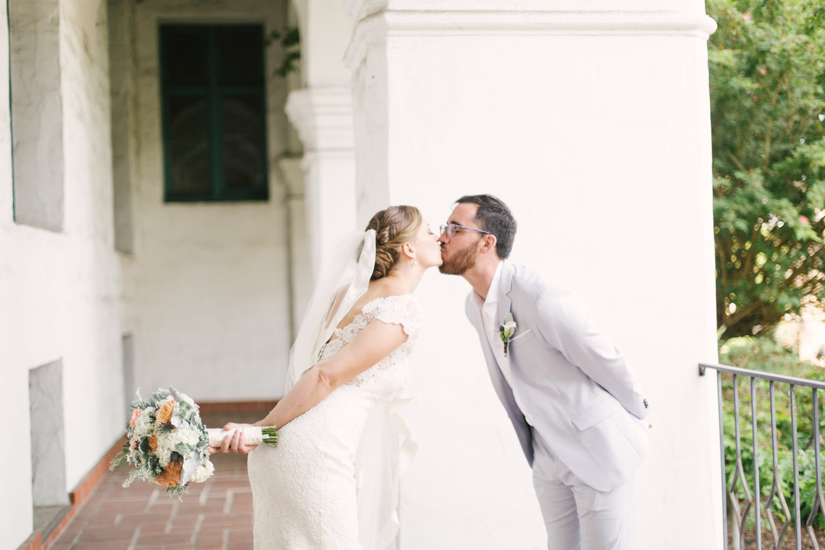 Bride and groom kiss at Santa Barbara Courthouse Wedding