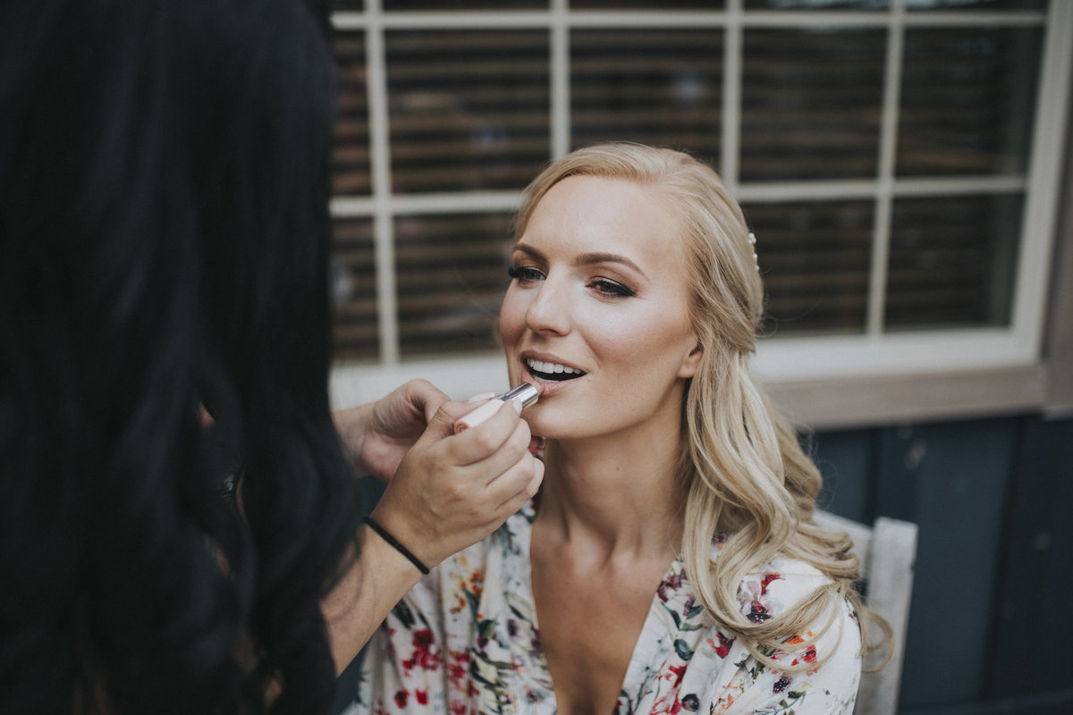 Bride getting ready for wedding at Kicking Horse Mountain Resort