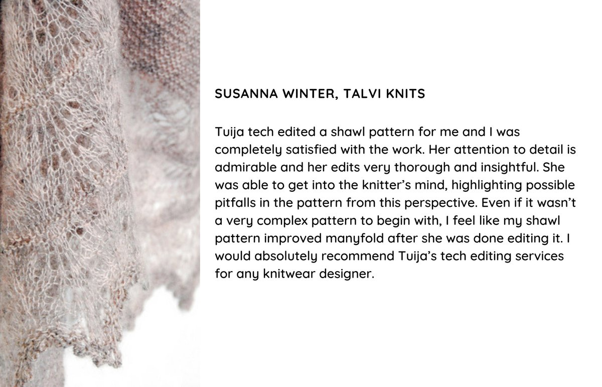 Testimonial for tech editing the Milky Oolong shawl knitting pattern