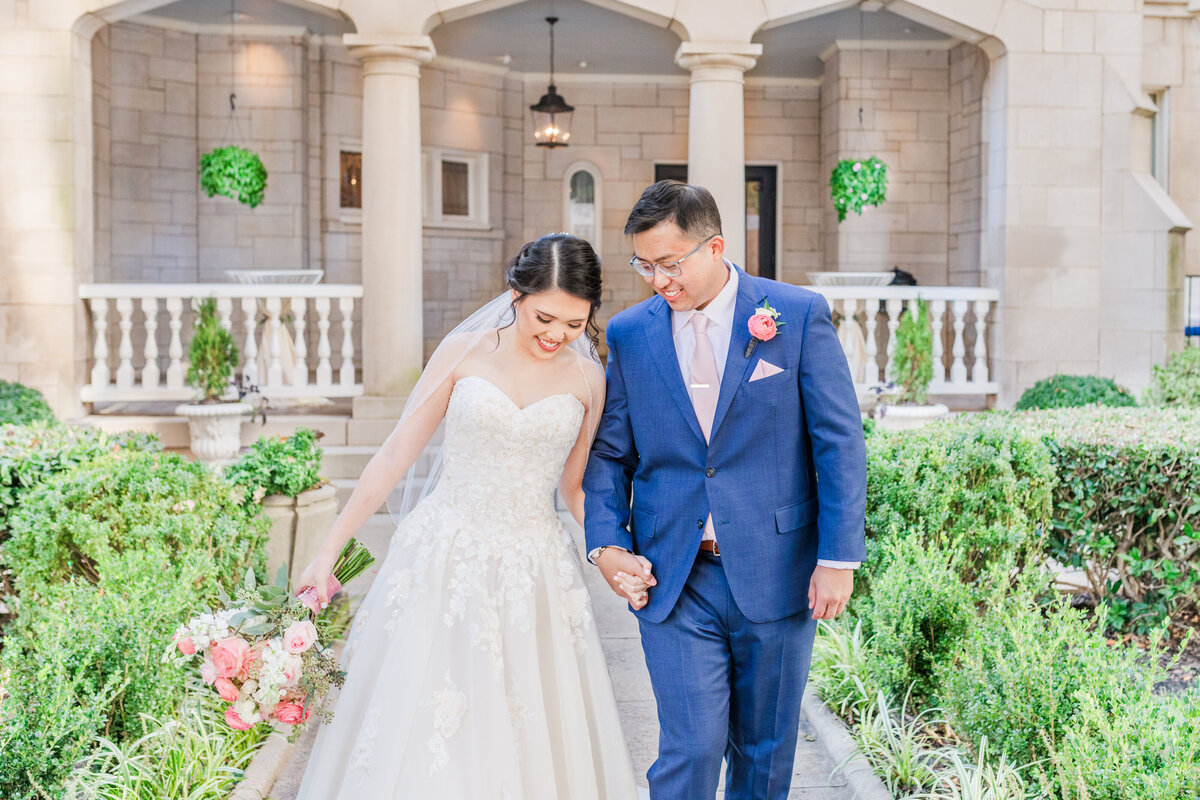 An Asian-American couple before their wedding at the Wimbish House in Atlanta Georgia, by Jennifer Marie Studios, light and airy Georgia wedding photographer.