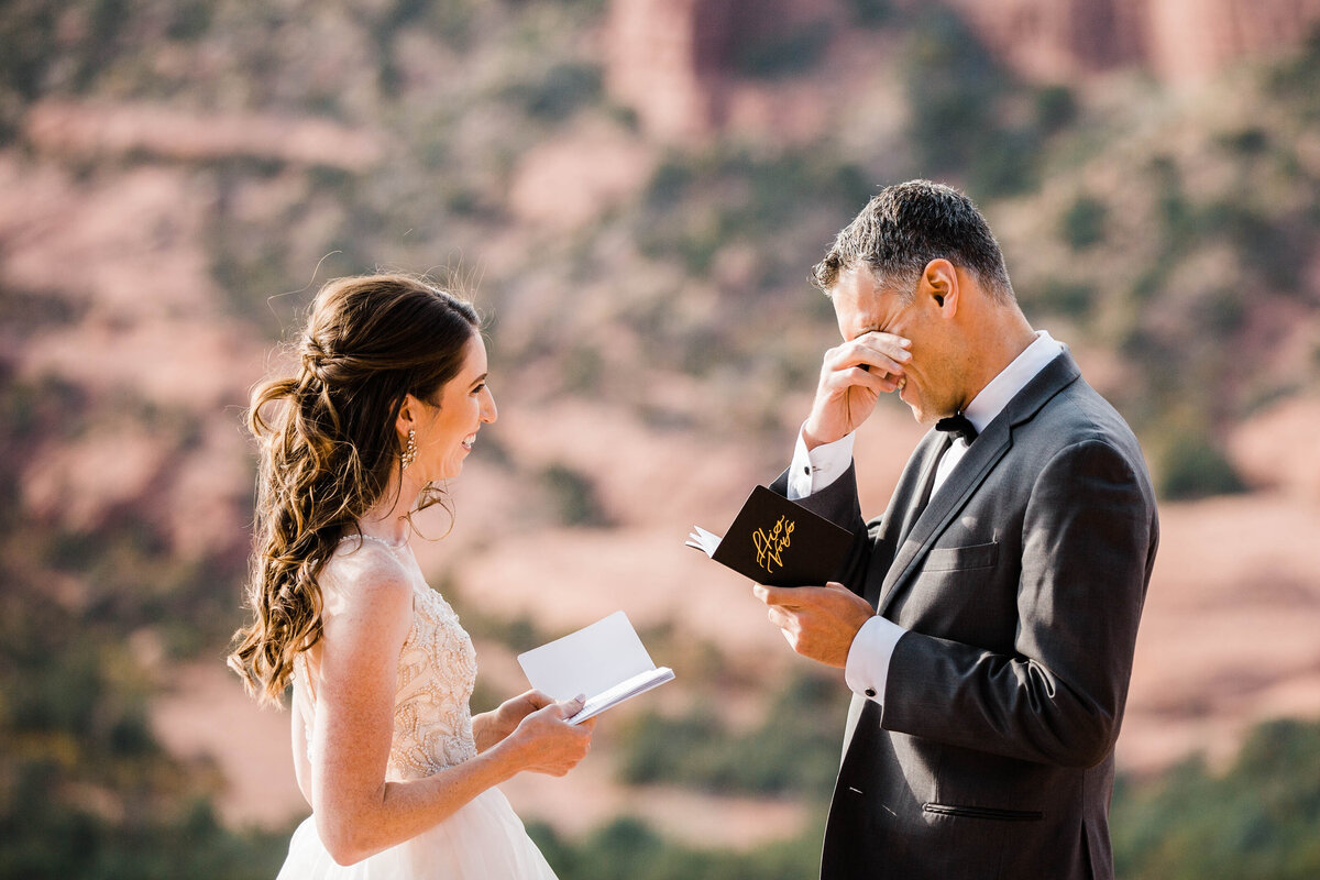 In joshua tree, the couple reads their vows to each other