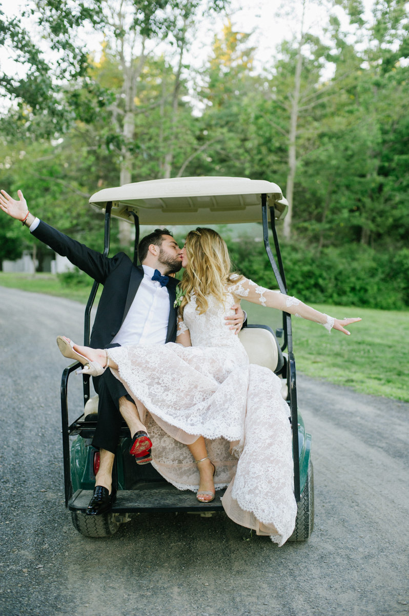 Golf cart wedding photo at cedar Lakes Estates