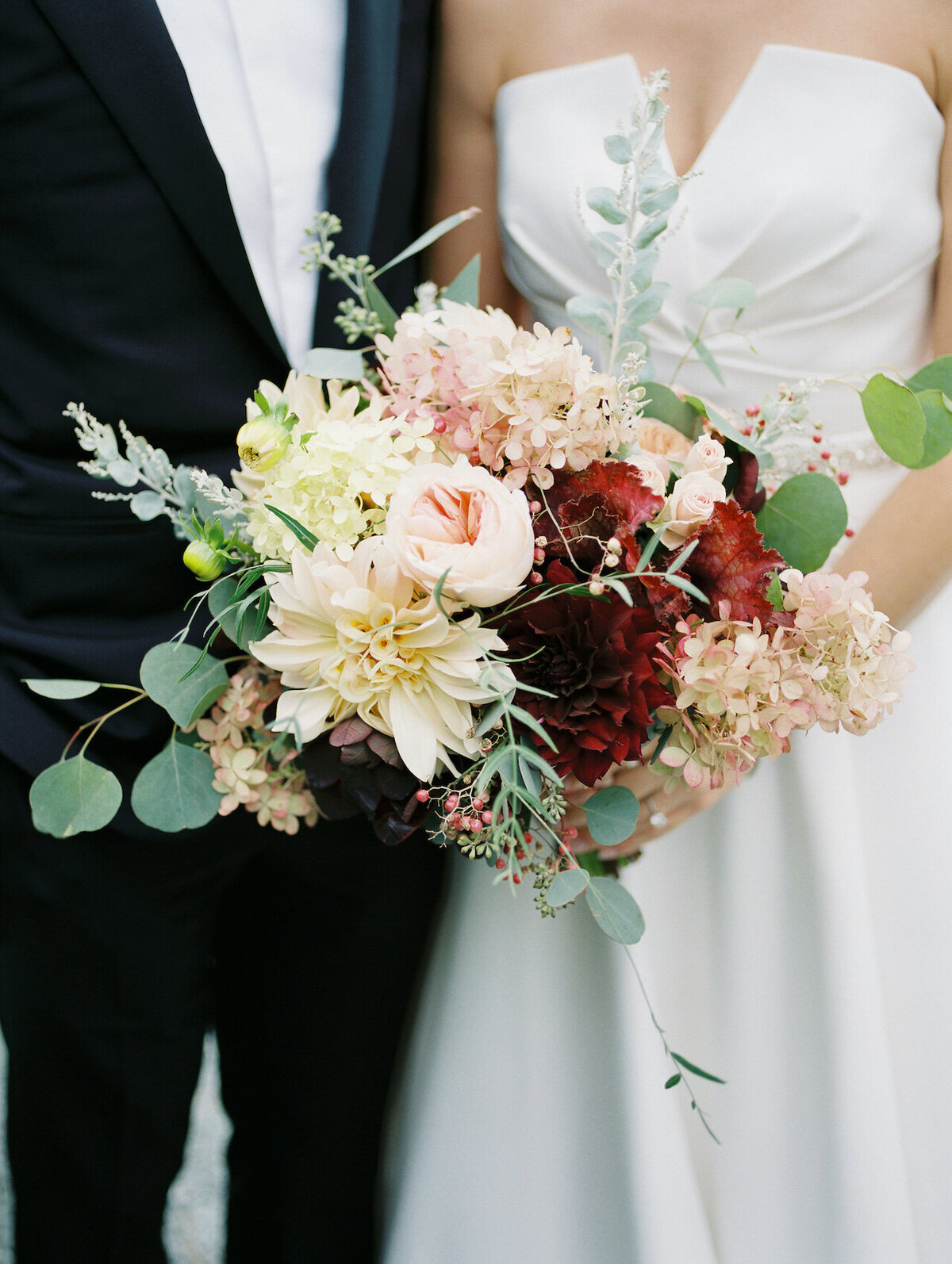 Fall Bridal Bouquet with Dahlia and Eucalyptus Robert Aveau for © Bonnie Sen Photography