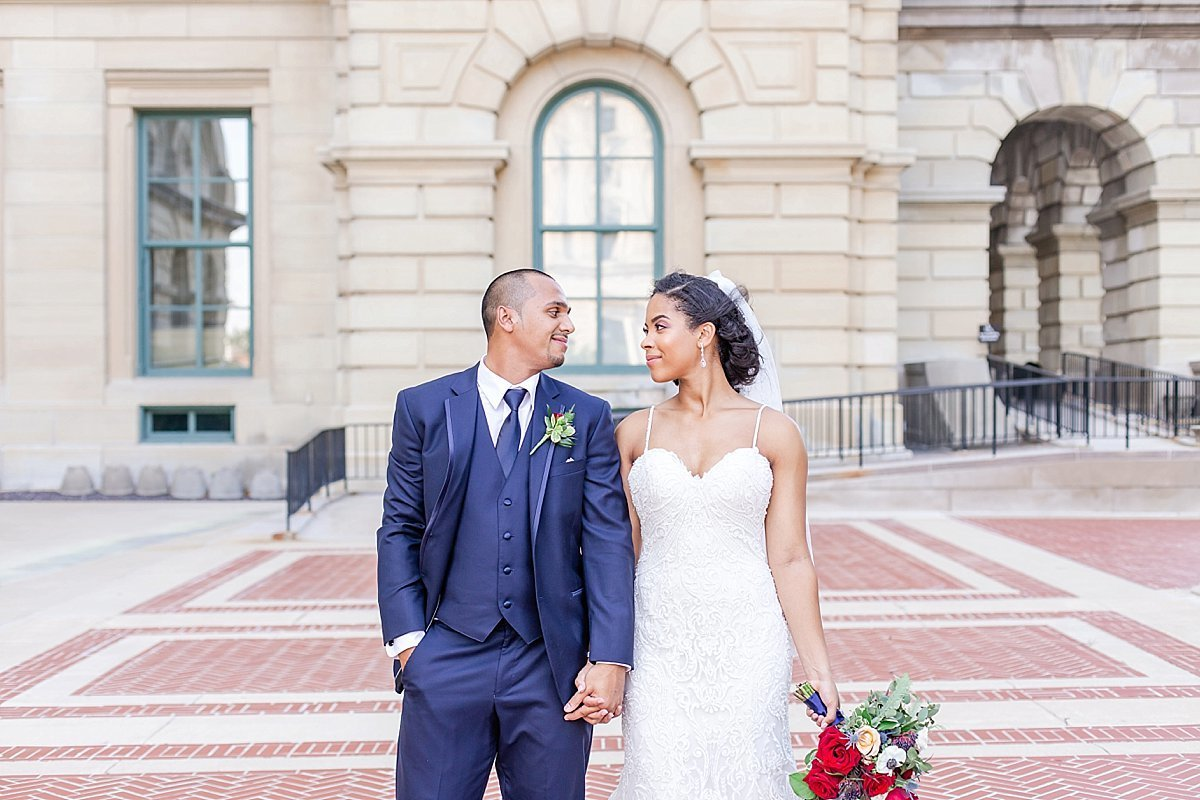 Classy bride and groom in downtown Springfield, Illinois