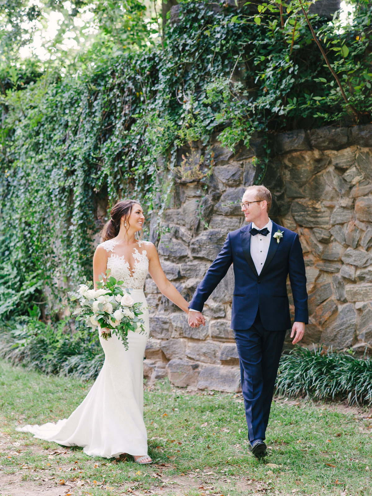 Bride & Groom walking photo in Piedmont Park