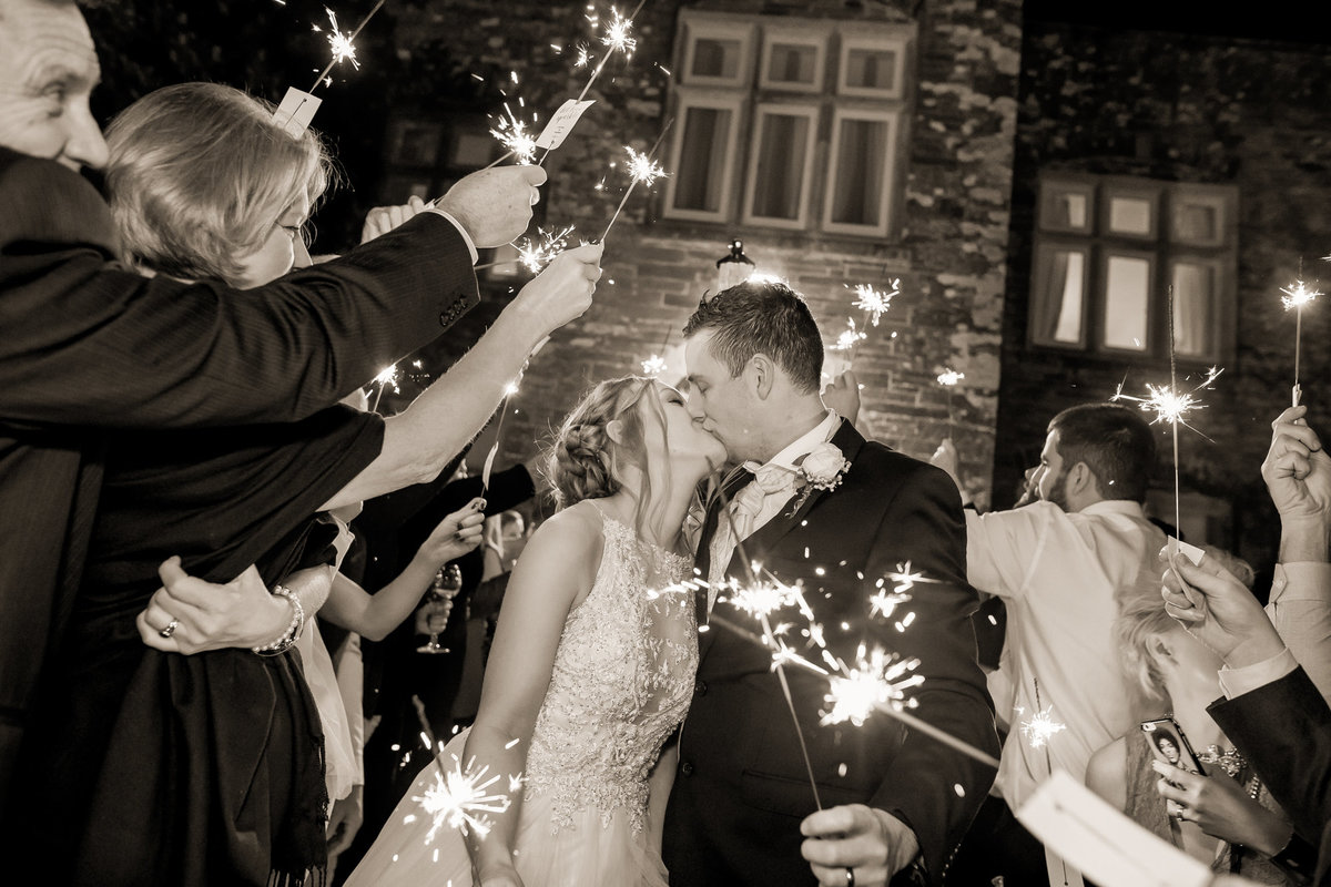 sparkler exit from wedding at langdon court devon