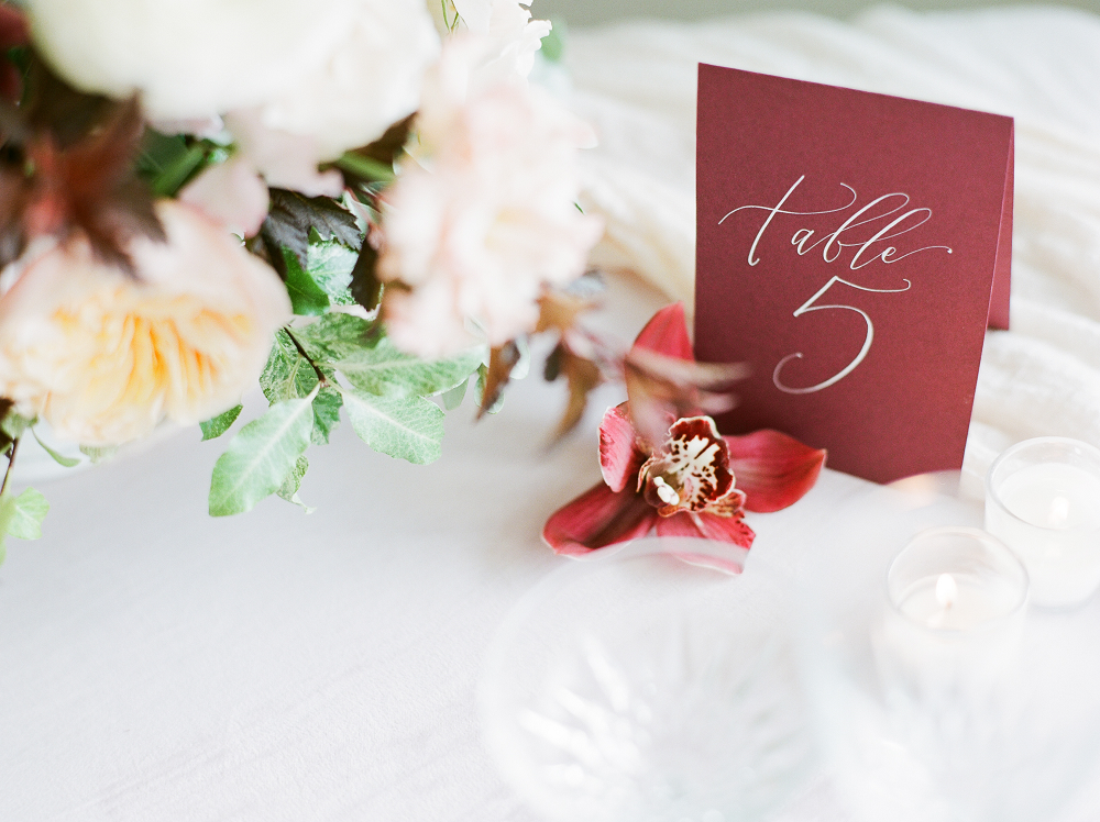 Burgundy and Blush Wedding Inspiration Styled Shoot Table Numbers by Prairie Letter