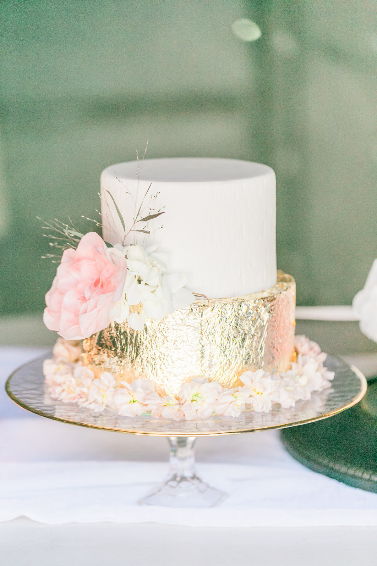 Two Tier White Flower Gold Foil Cake