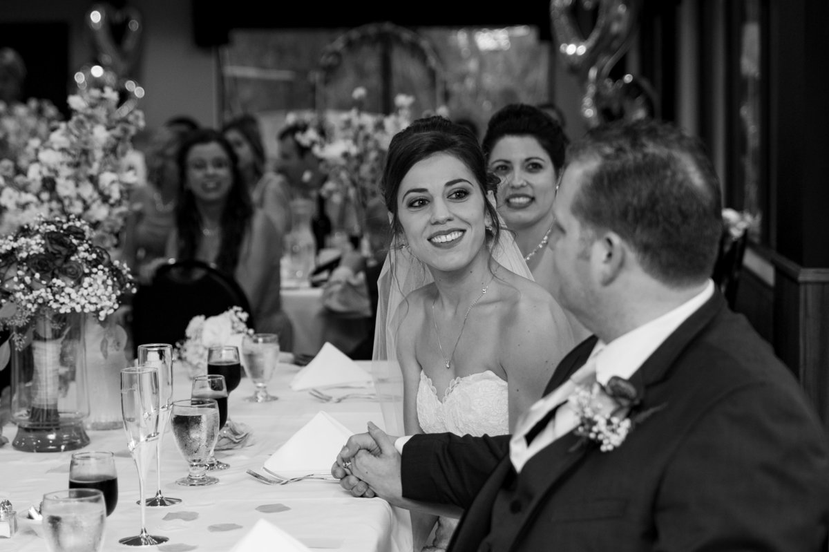 bride glances at groom