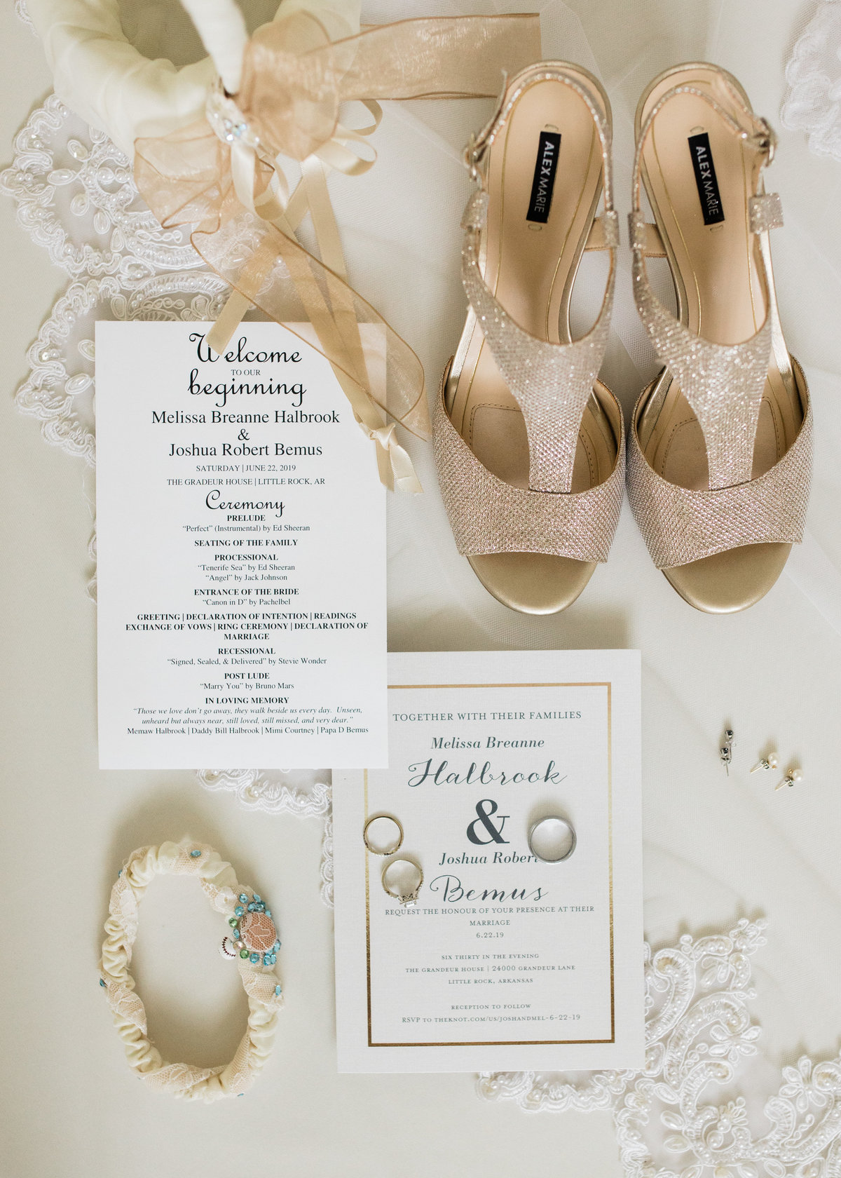Wedding invitations, wedding shoes and wedding rings / Katie Childs Photo