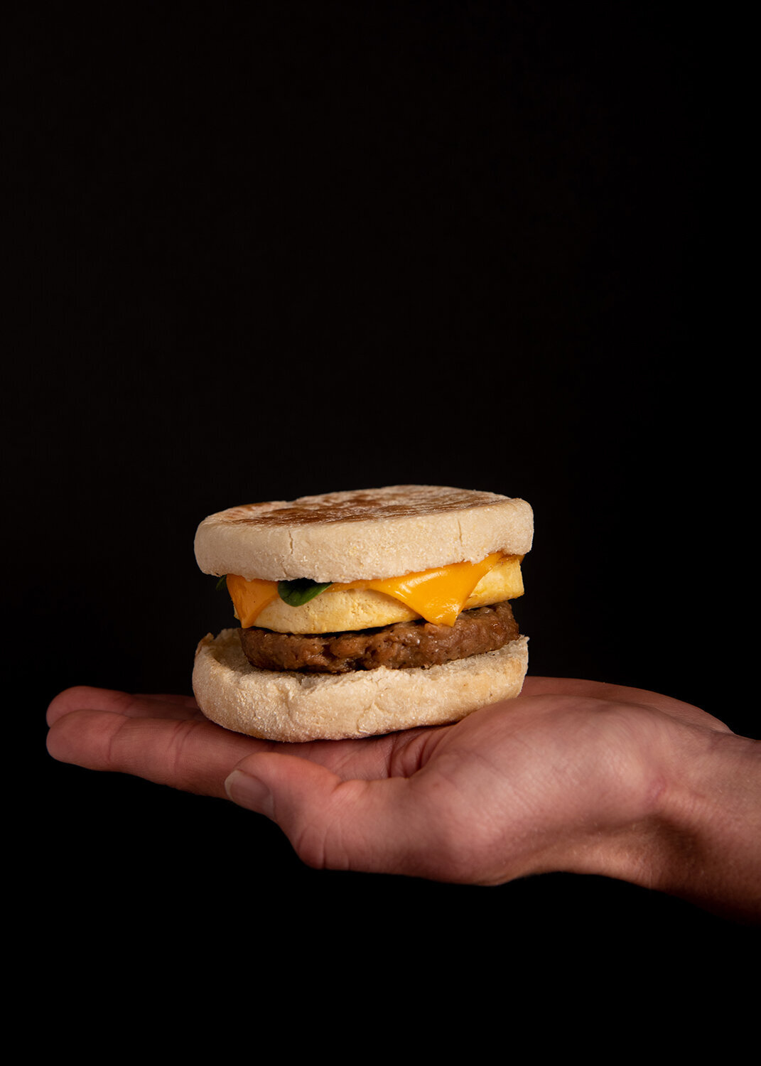 plant power fast food breakfast sandwich product photography