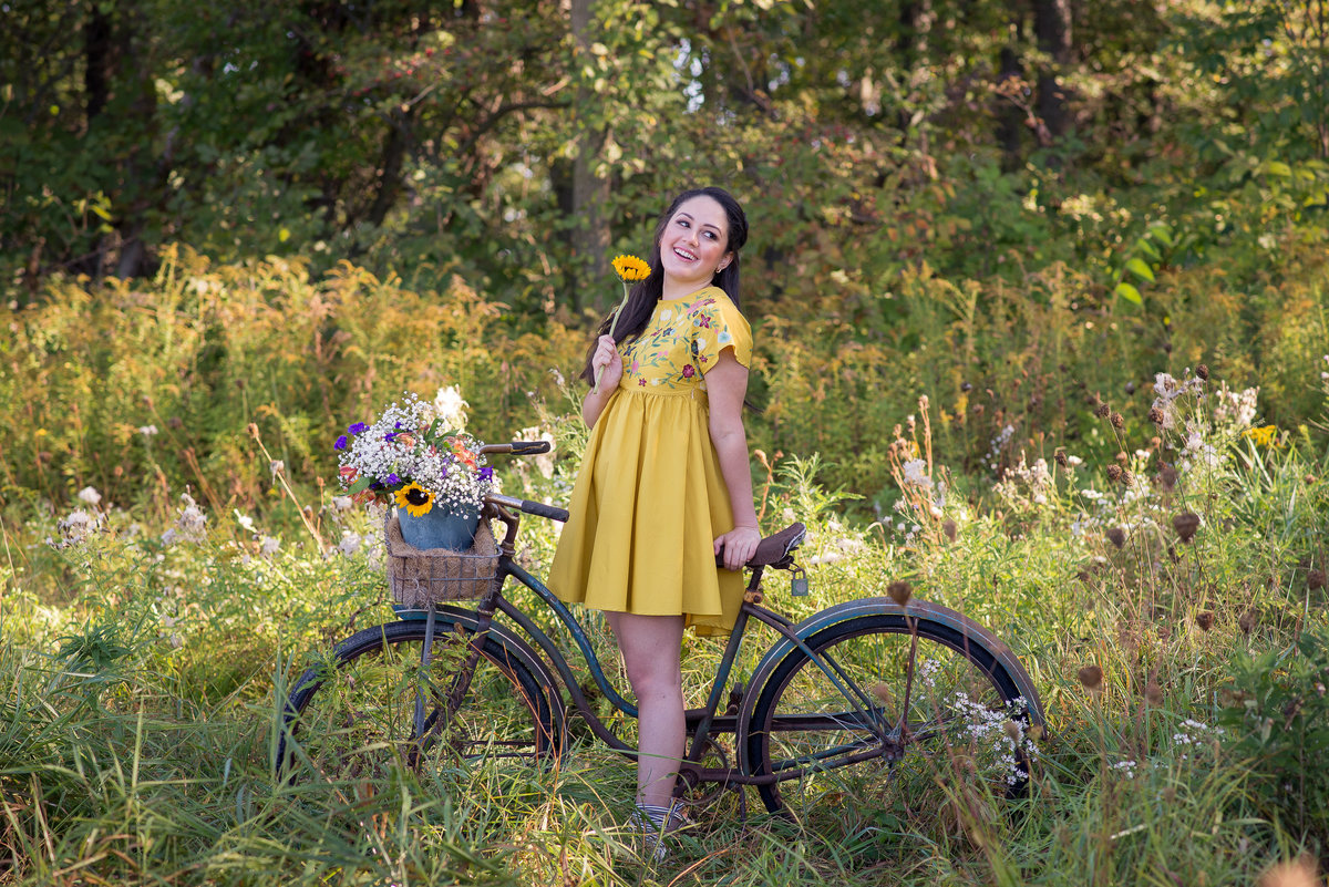 Senior Session Bike in Flower Field