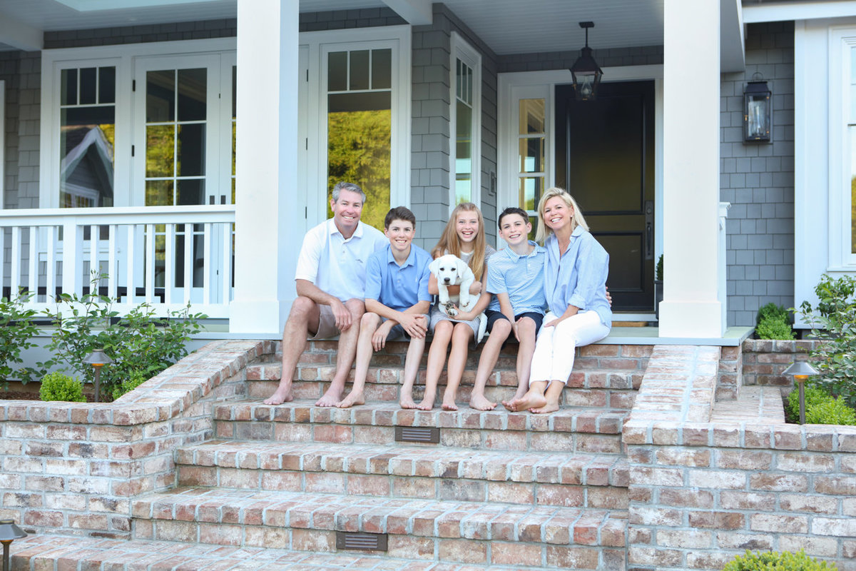 Family of Five and Dog Front House