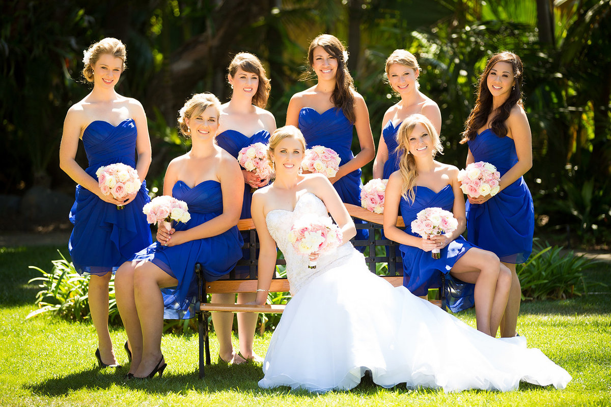 Grand Tradition wedding photos bridal party blue dresses